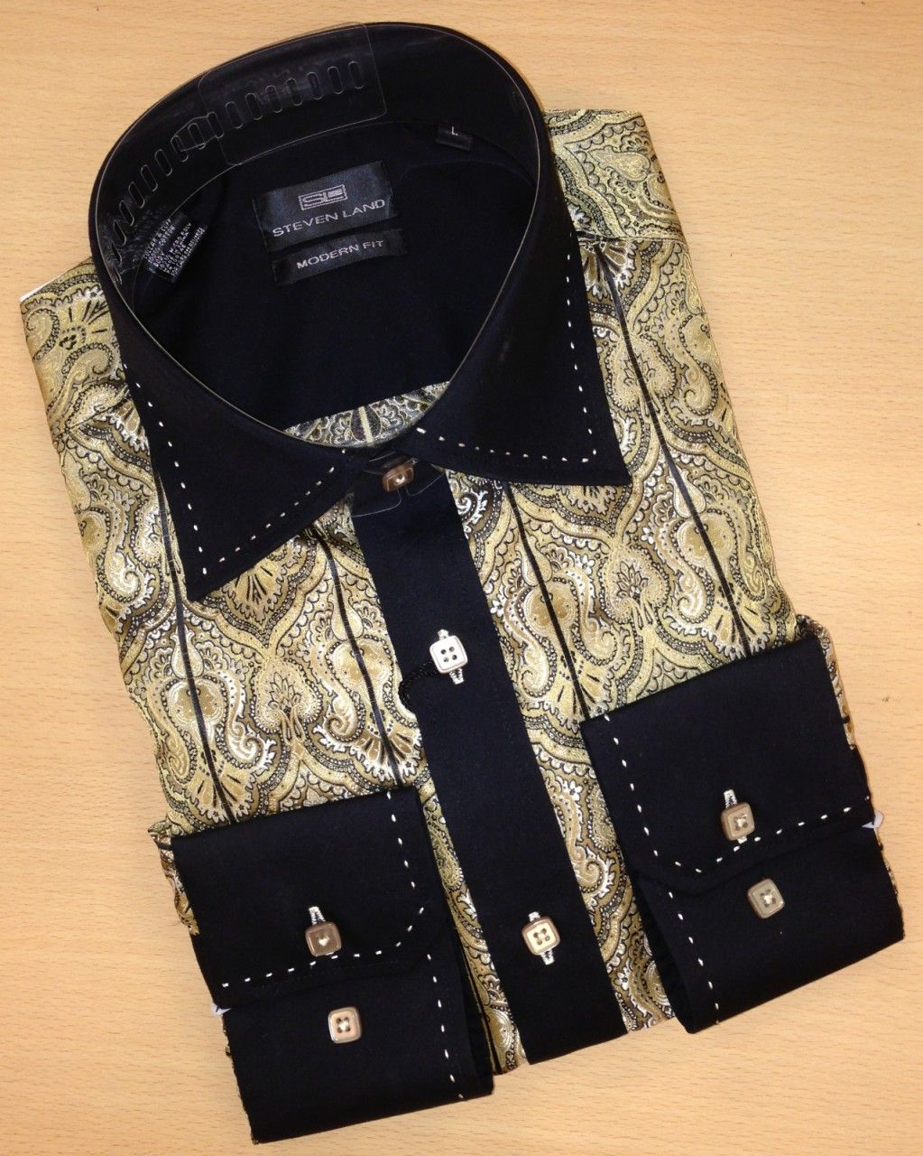 Men's Steven Land Paisley Fashion Dress Shirt - Gold