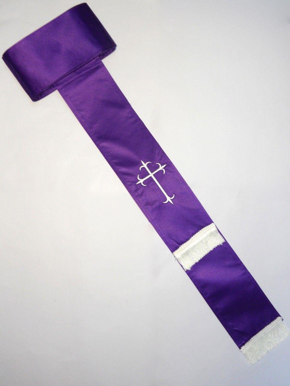 Band Cincture Belt - Purple/White Cross