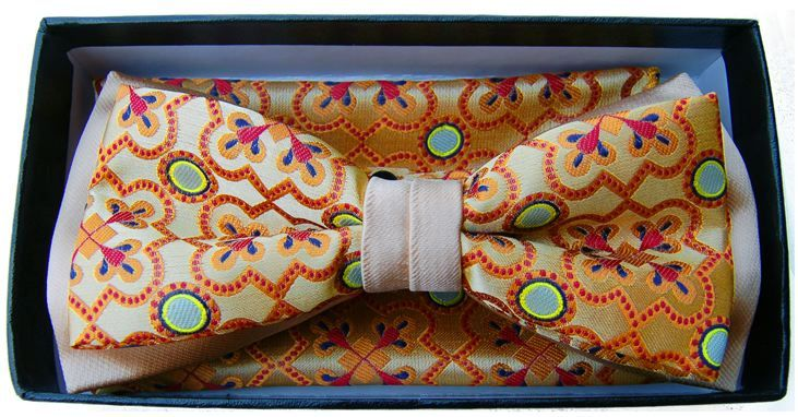 *Men's Premium Two-Tone Regency Pattern Bow Tie + Hanky - Orange/Tan