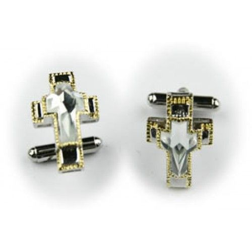 2 Pc. Glorious Stone Cross Cufflinks - White