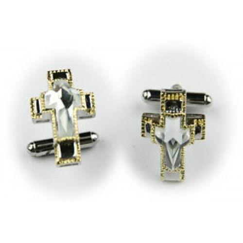 2 Pc. Glorious Stone Cross Cufflinks - White