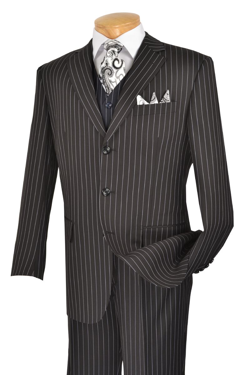 Men's Pinstripe Fashion 3 Pc. Black Suit
