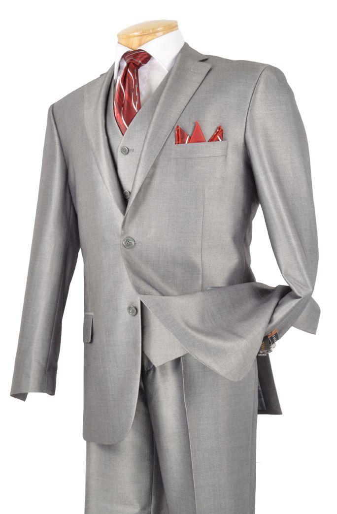 Men's 3 Pc. Premium Sharkskin Suit Gray