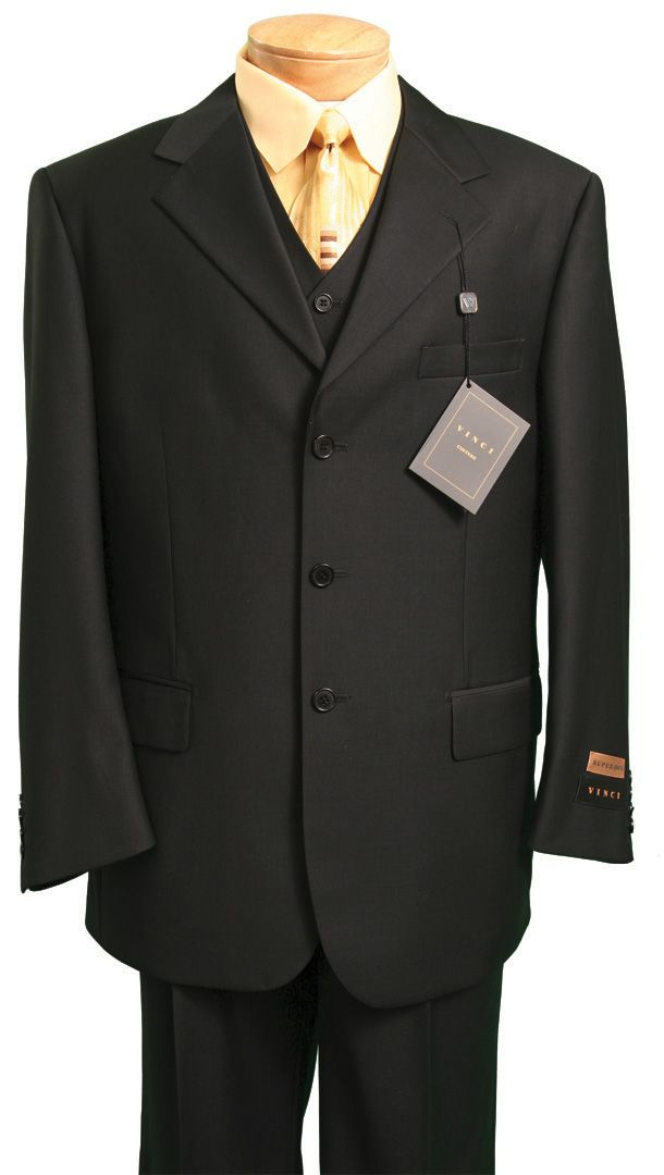 Men's Italian-Style 3 Pc. Suit - Black