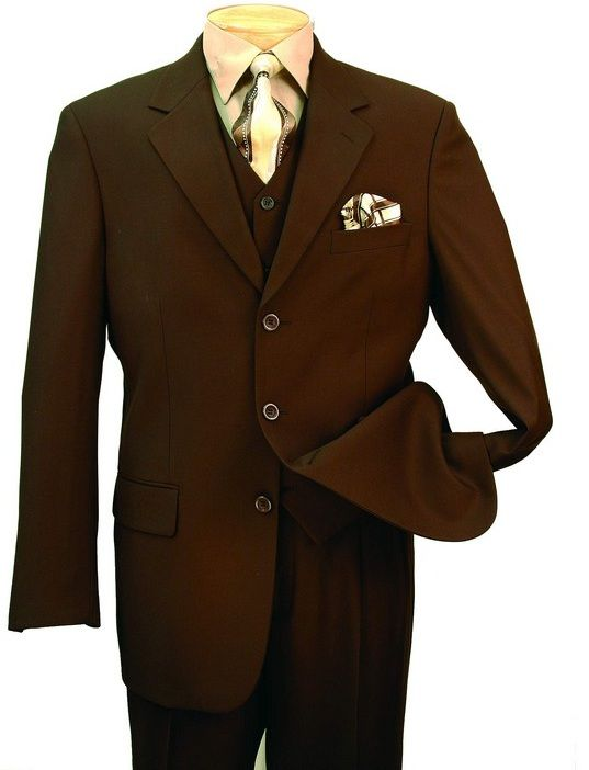 Men's Italian-Style 3 Pc. Suit -  Brown