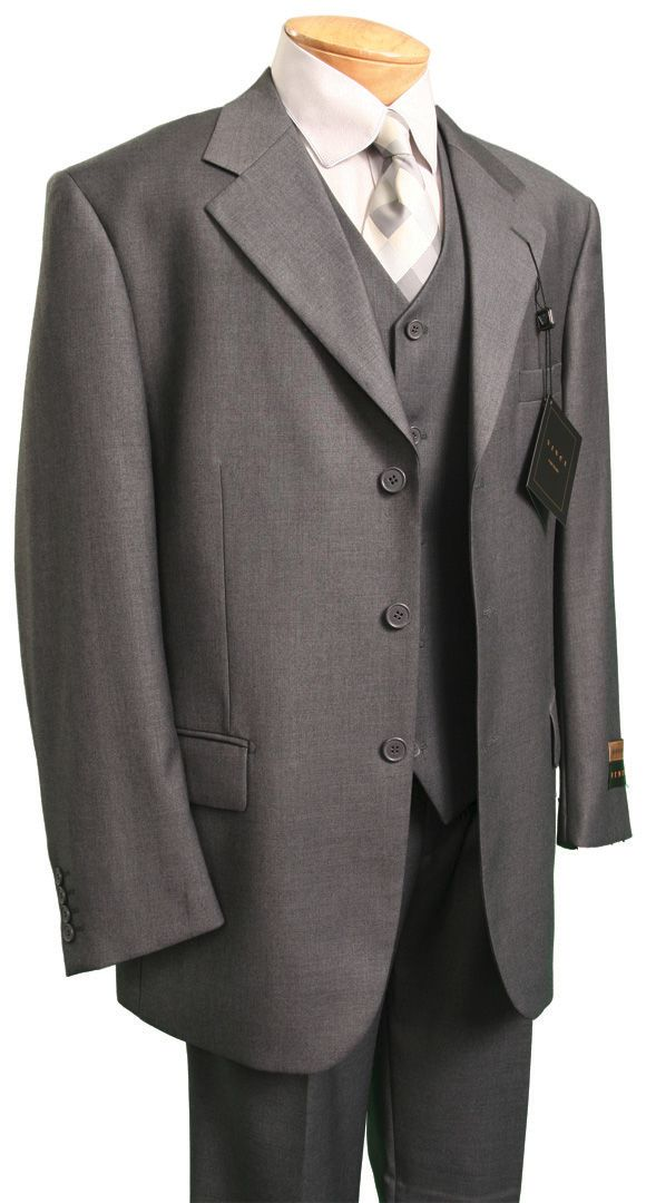 Men's Italian-Style 3 Pc. Suit - Heather Gray