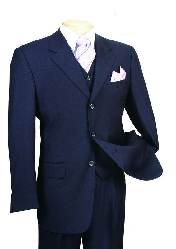 Men's Italian-Style 3 Pc. Suit - Navy