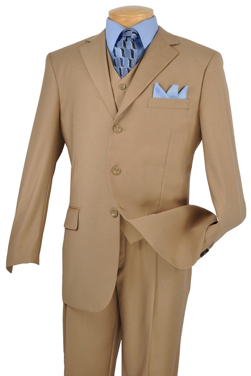 Men's Italian-Style 3 Pc. Suit - Tan