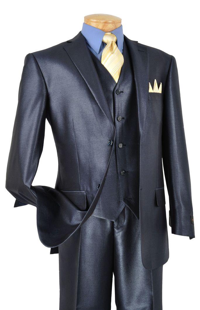 Men's 3 Pc. Premium Sharkskin Suit Midnight Blue