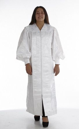 955 P. Men's & Women's Clergy Robe - Solid White Brocade