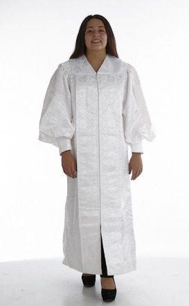 955 P. Men's & Women's Clergy Robe - Solid White Brocade