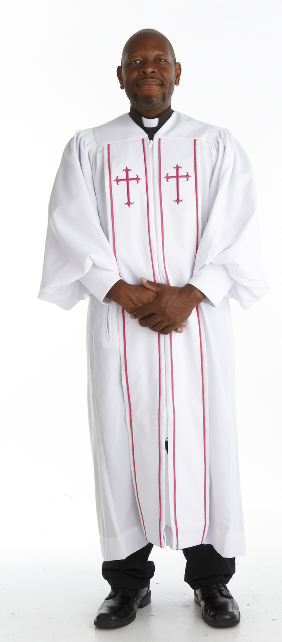 925 P. Men's & Women's Clergy Robe - White/Red