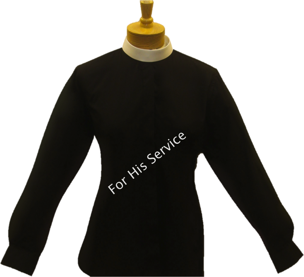 601. Women's Long-Sleeve (Banded) Full-Collar Clergy Shirt - Black