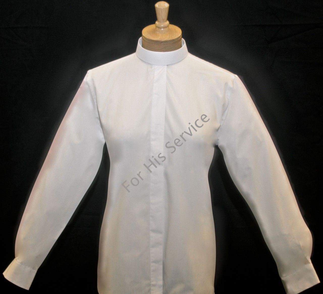 603. Women's Long-Sleeve (Banded) Full-Collar Clergy Shirt - White