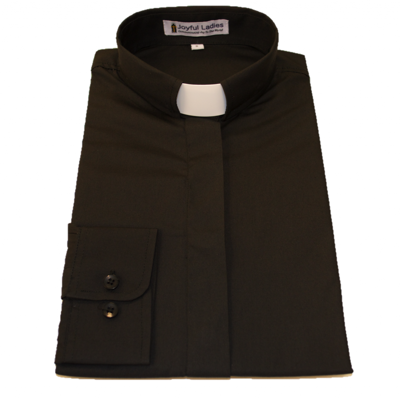 501. Women's Long-Sleeve Tab-Collar Clergy Shirt - Black