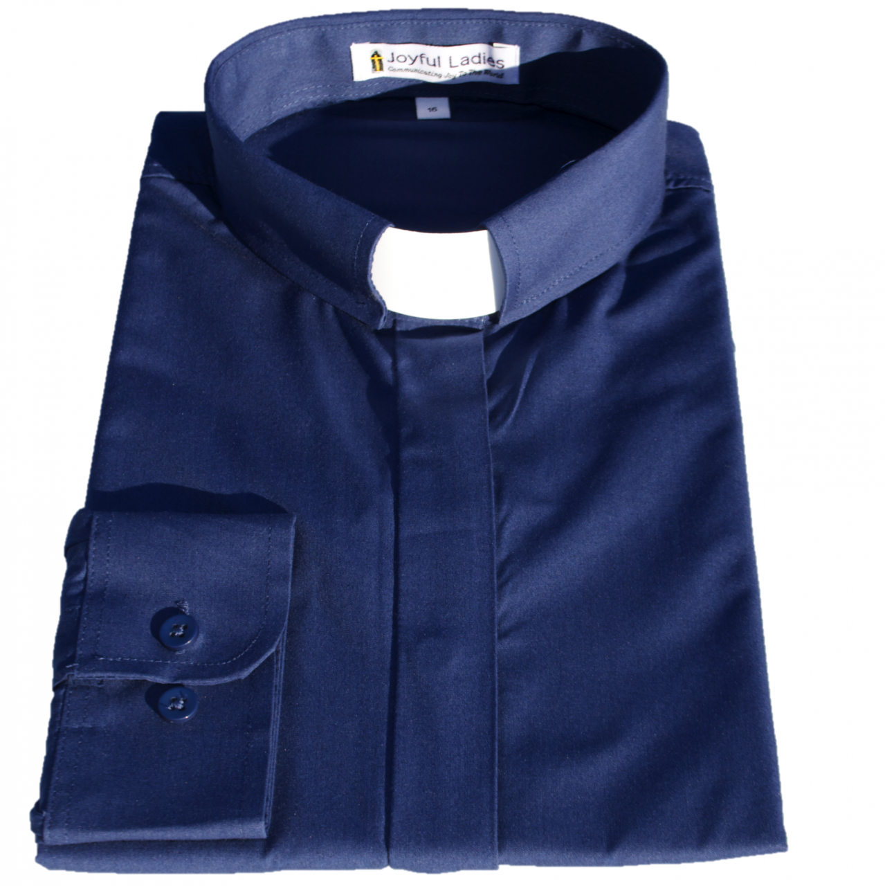 Women's Long-Sleeve Tab-Collar Clergy Shirt - Navy