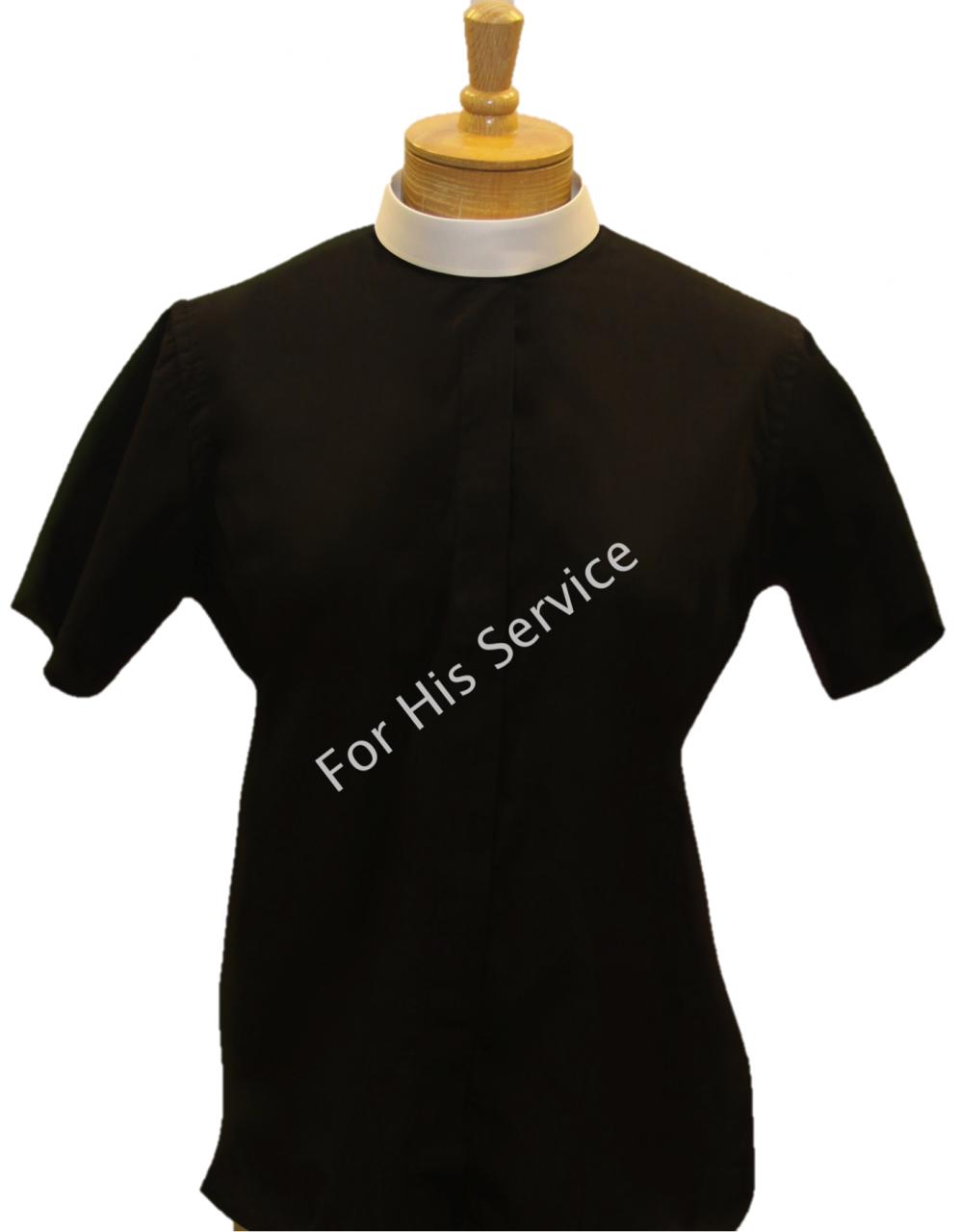 651. Women's Short-Sleeve (Banded) Full-Collar Clergy Shirt - Black