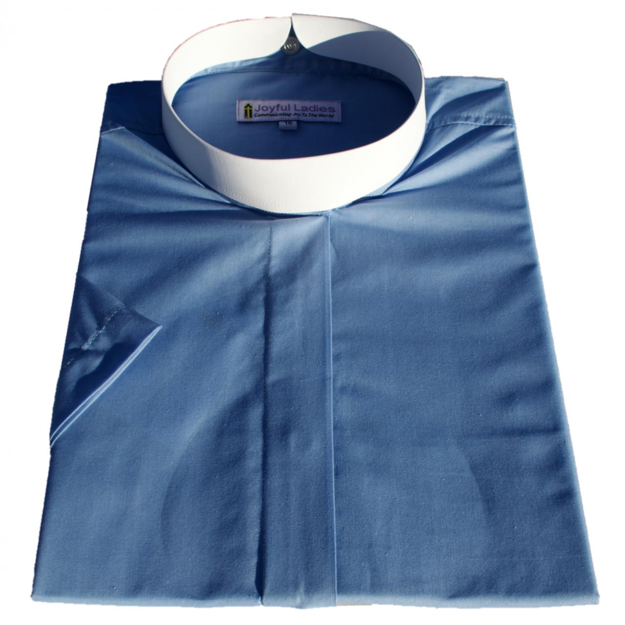 663. Women's Short-Sleeve (Banded) Full-Collar Clergy Shirt - Light Blue