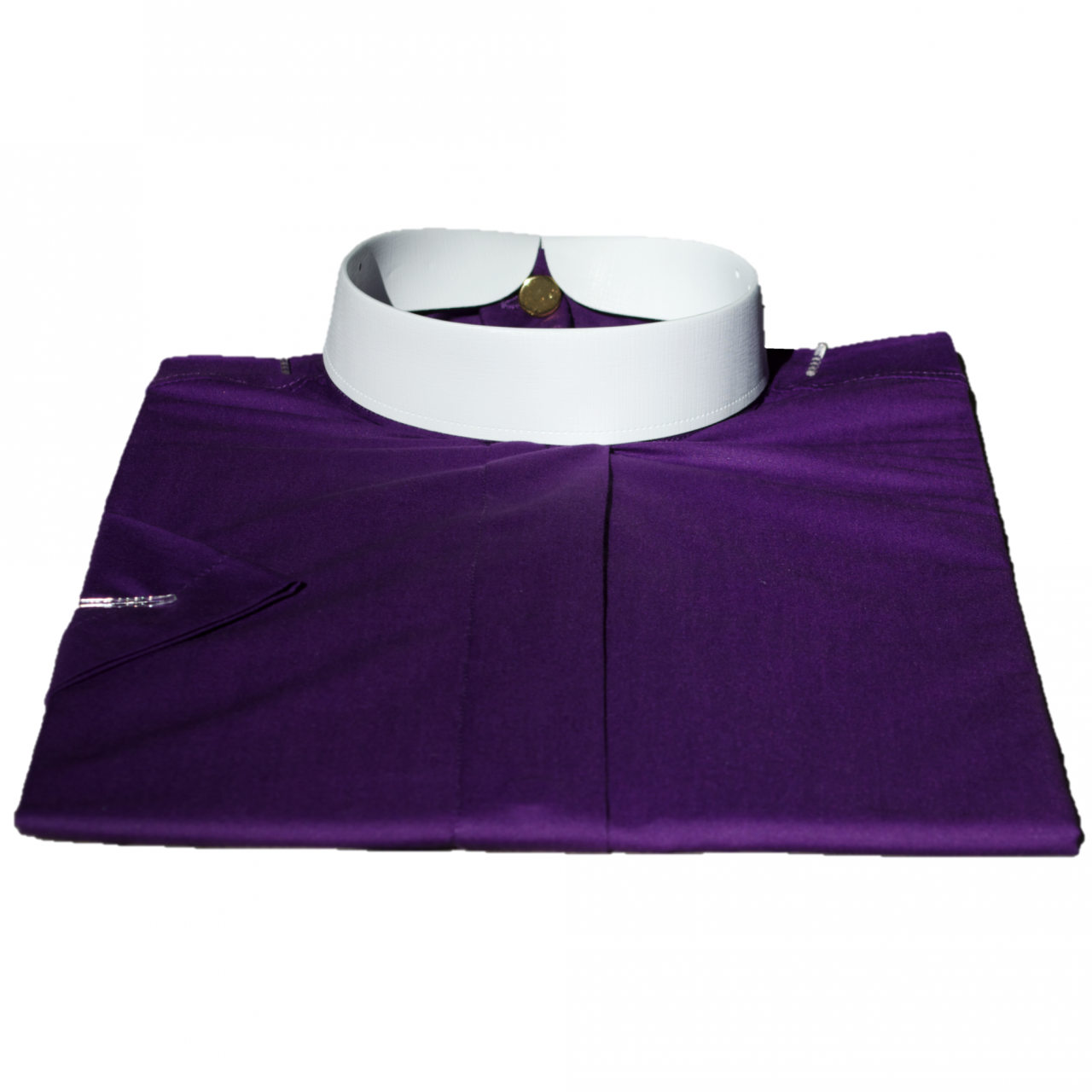 655. Women's Short-Sleeve (Banded) Full-Collar Clergy Shirt - Purple