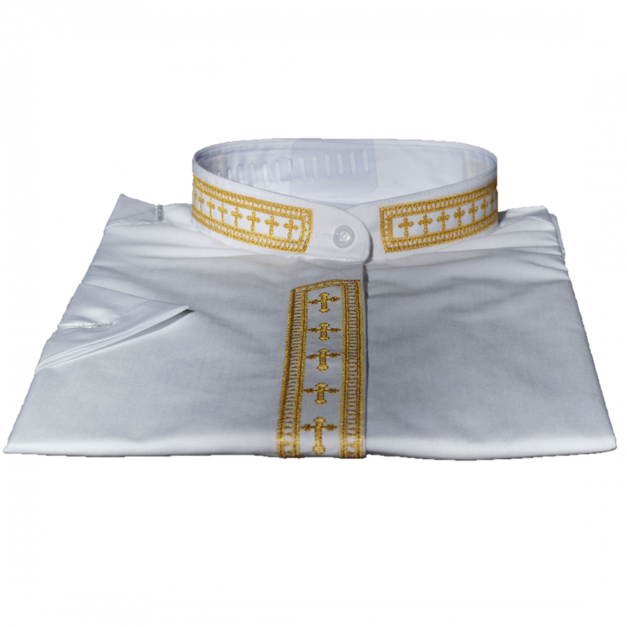 754. Women's Short-Sleeve Clergy Shirt With Fine Embroidery - White/Gold