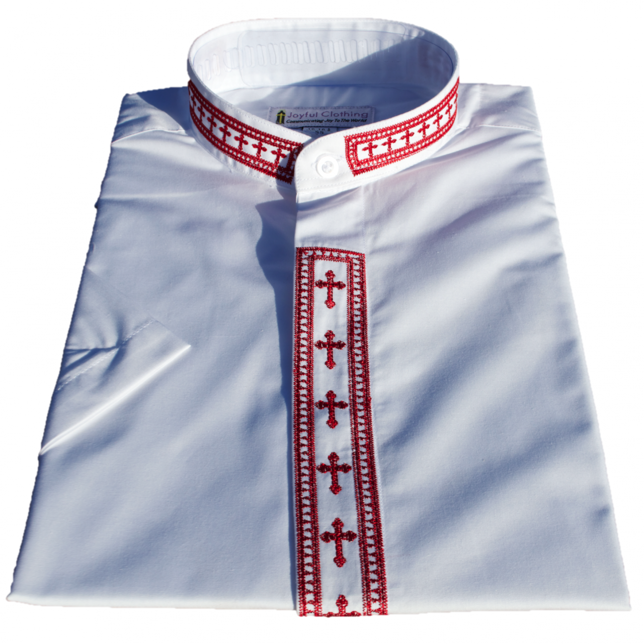 761. Women's Short-Sleeve Clergy Shirt With Fine Embroidery - White/Red