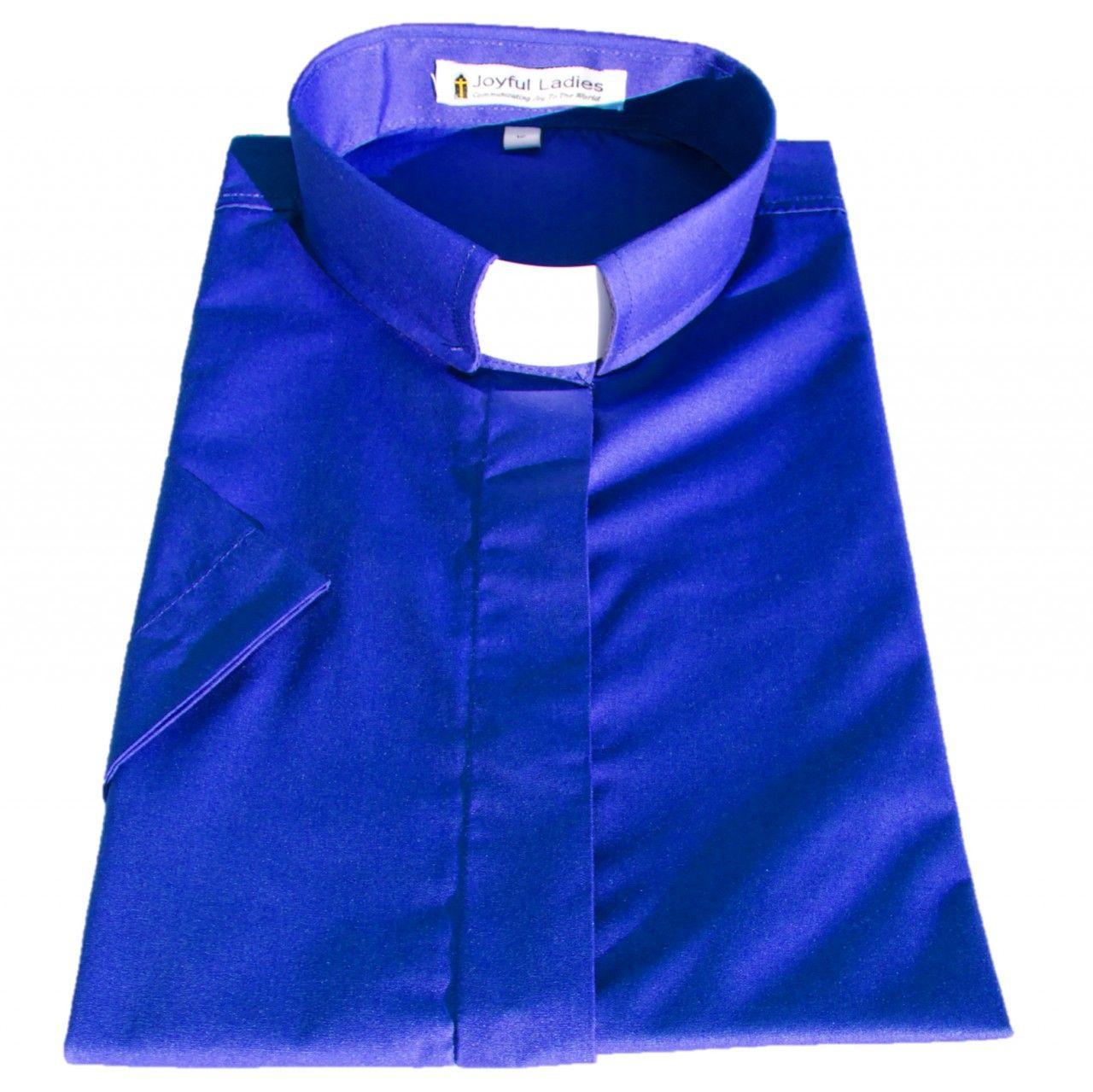 571. Women's Short-Sleeve Tab-Collar Clergy Shirt - Royal Blue