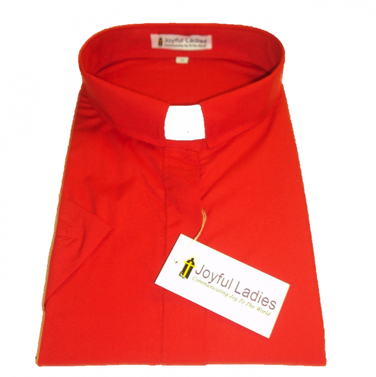 557. Women's Short-Sleeve Tab-Collar Clergy Shirt - Red
