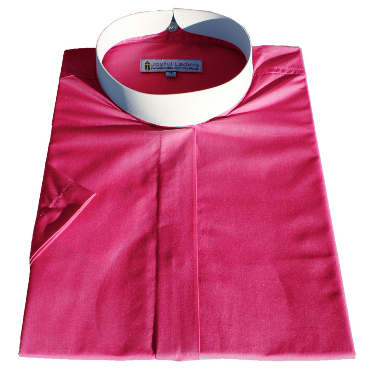 665. Women's Short-Sleeve (Banded) Full-Collar Clergy Shirt - Fuchsia