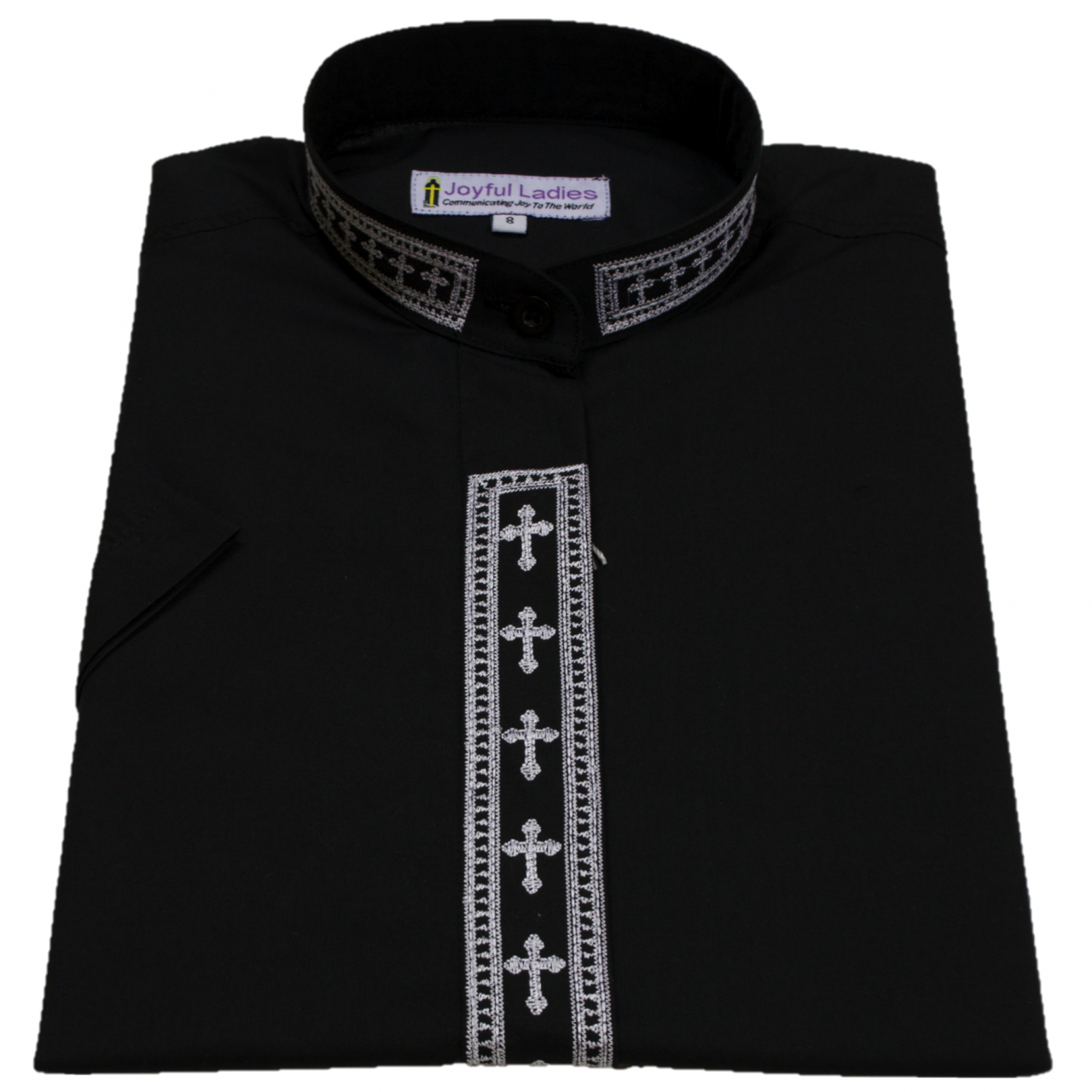 753. Women's Short-Sleeve Clergy Shirt With Fine Embroidery - Black/White