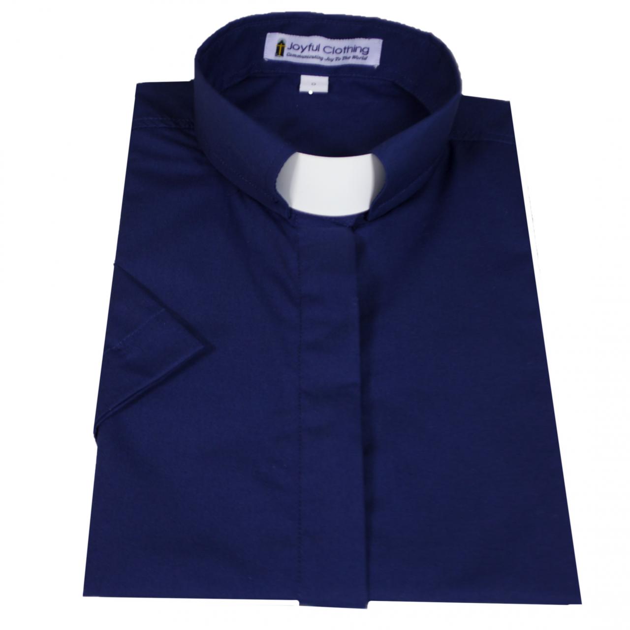 575. Women's Short-Sleeve Tab-Collar Clergy Shirt - Navy Blue