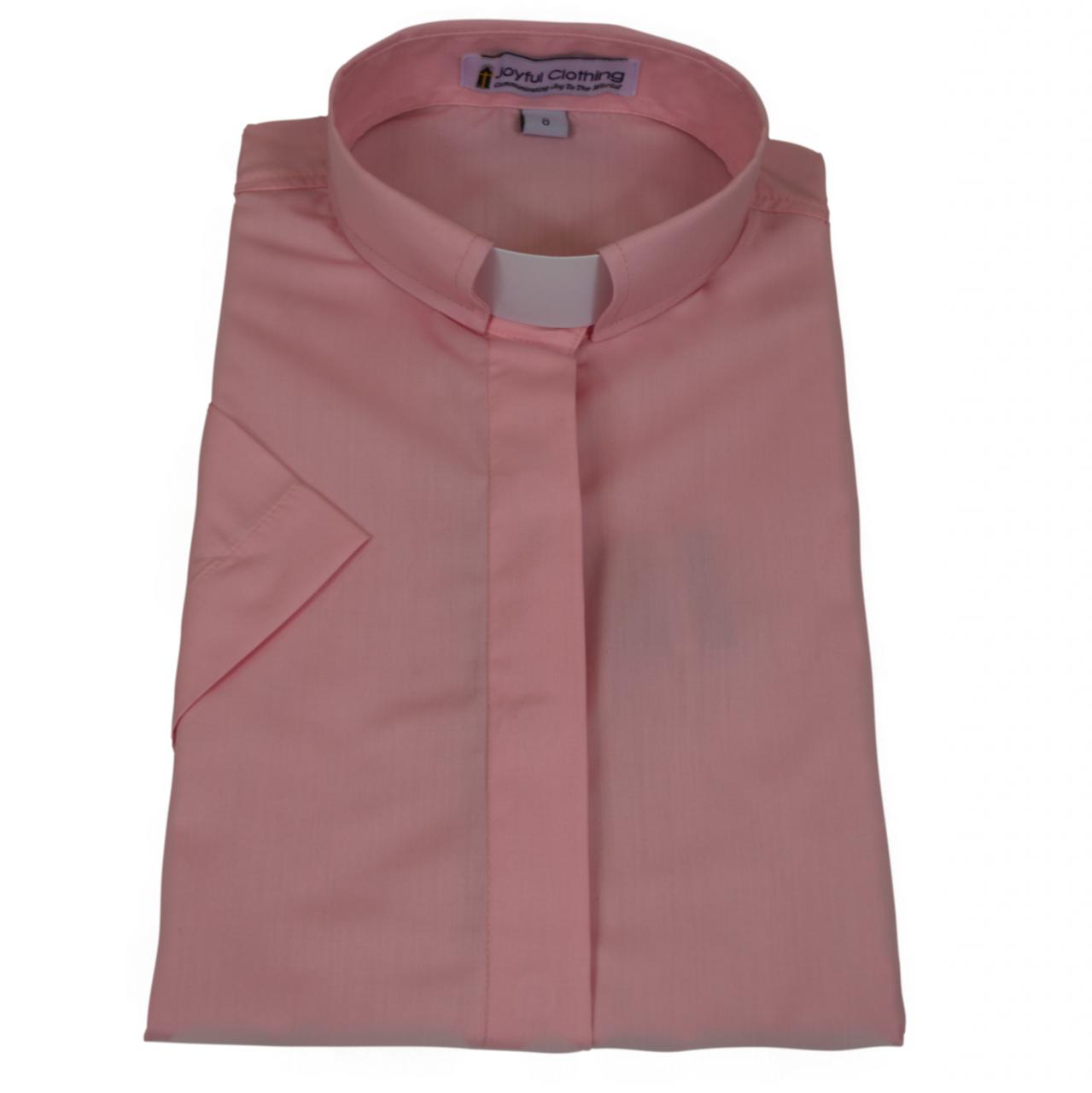 579. Women's Short-Sleeve Tab-Collar Clergy Shirt - Pink