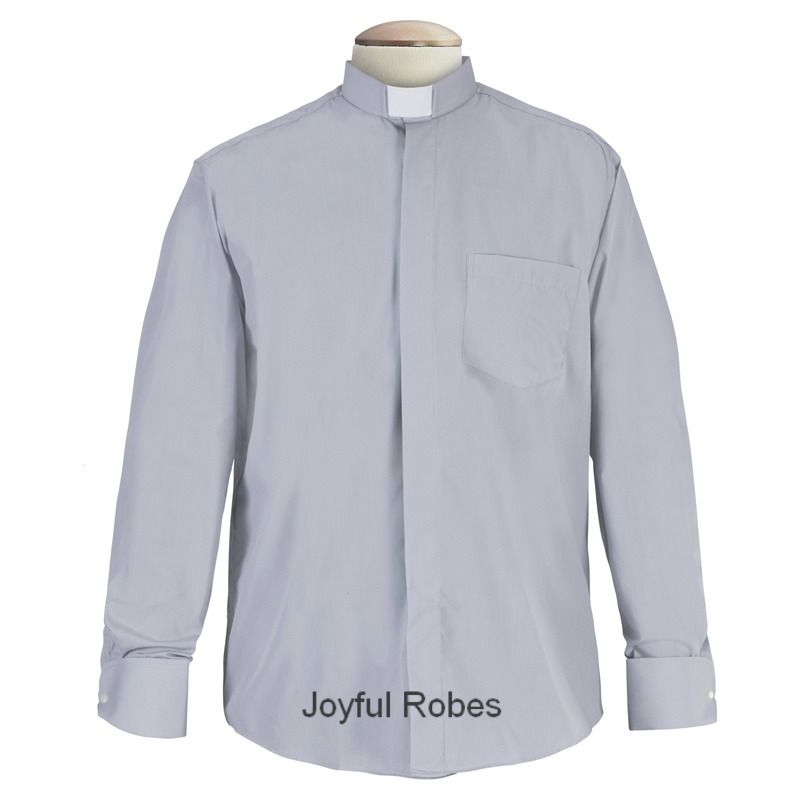 111. Men's Long-Sleeve Tab-Collar Clergy Shirt - Grey