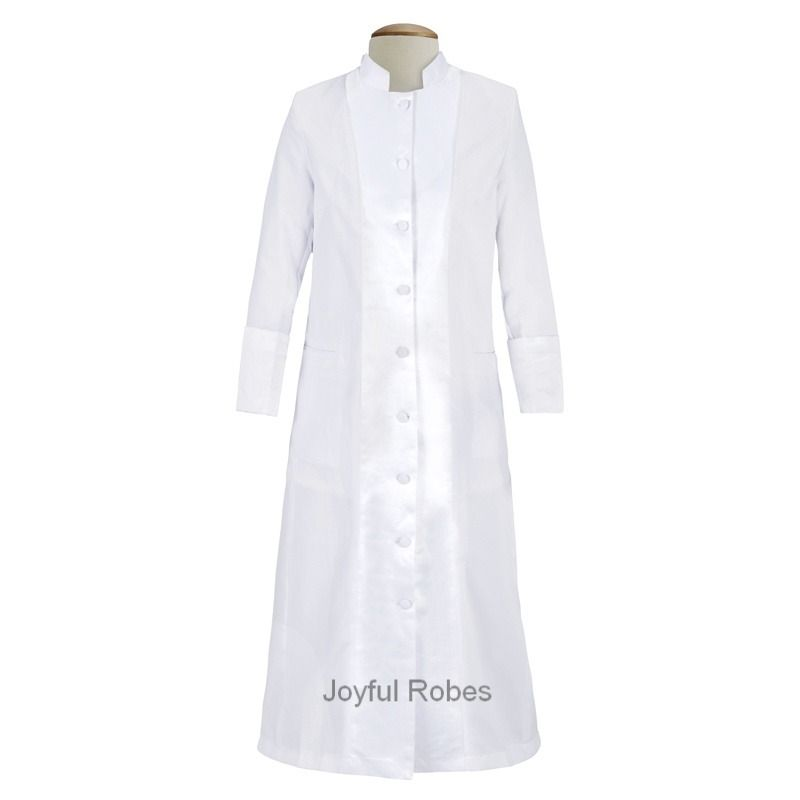 127 W. Women's Pastor/Clergy Robe with Satin - White/White A