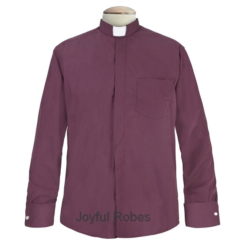 109. Men's Long-Sleeve Tab-Collar Clergy Shirt - Burgundy