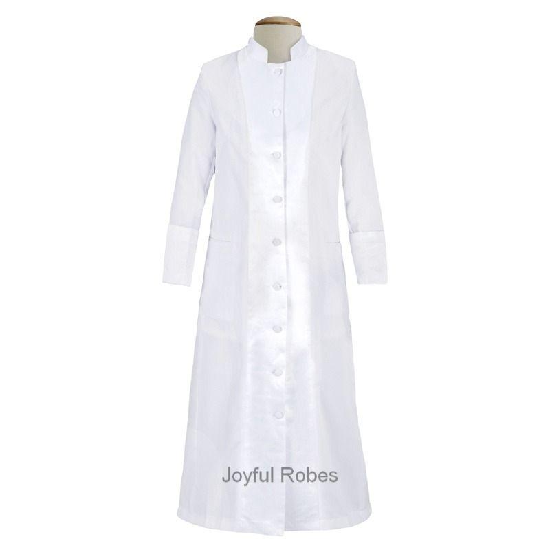 127 W. Women's Pastor/Clergy Robe with Satin - White/White A