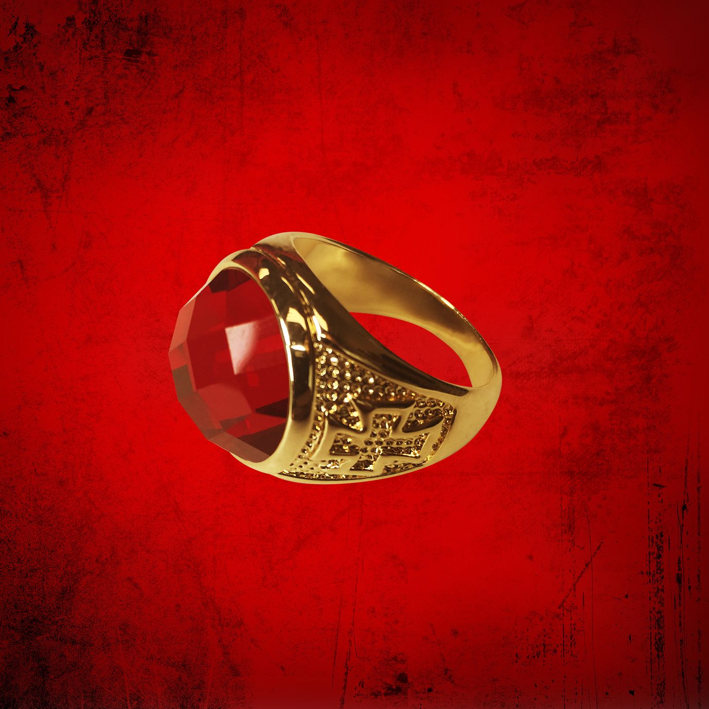 Men's Clergy Ring with Deep Red Rounded Stone