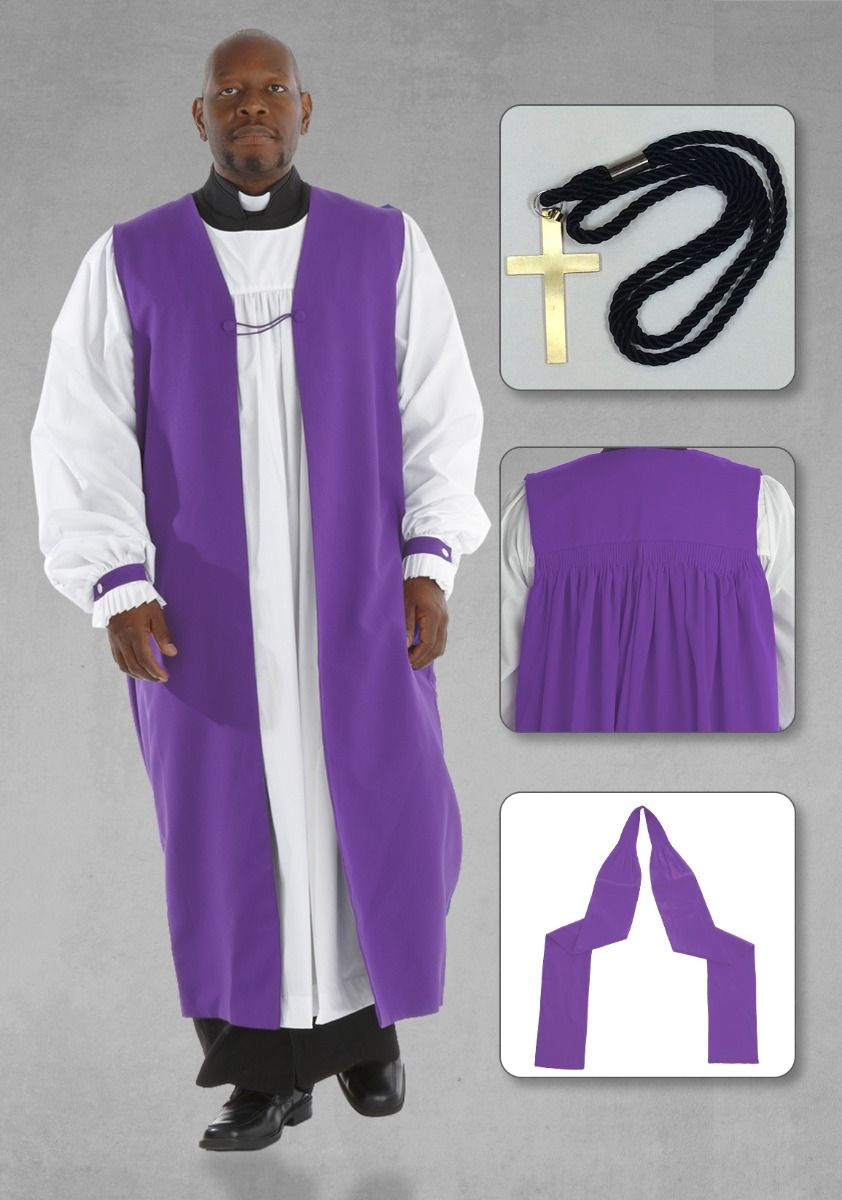 Bishop Purple Chimere and Clergy Rochet Set with Bishop Tippet