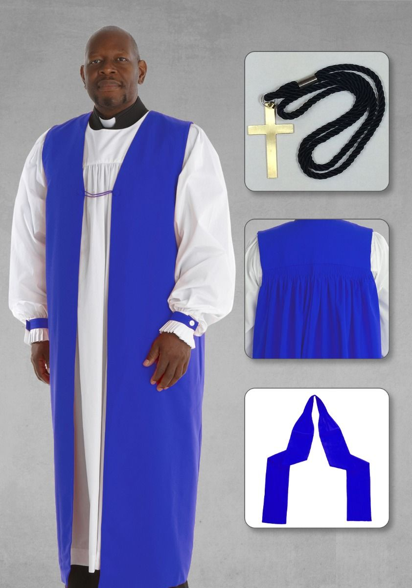Bishop Chimere and Clergy Rochet with Tippet in Royal Blue