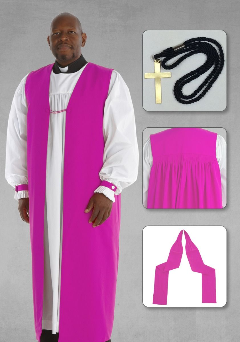 Clergy Chimere and Rochet Set in Fuschia with Bishop Chimere