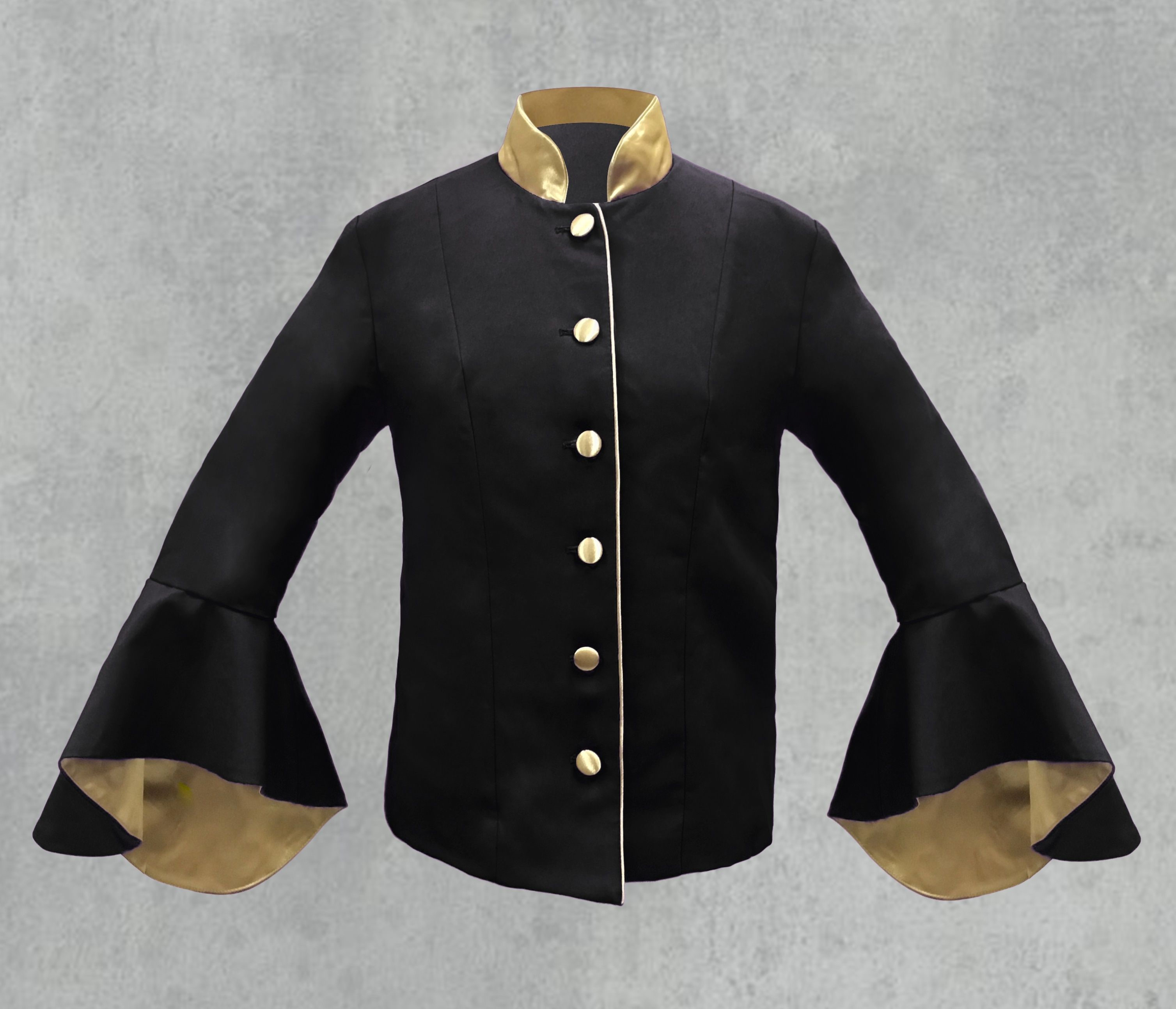 Black and Gold Clergy Jacket for women