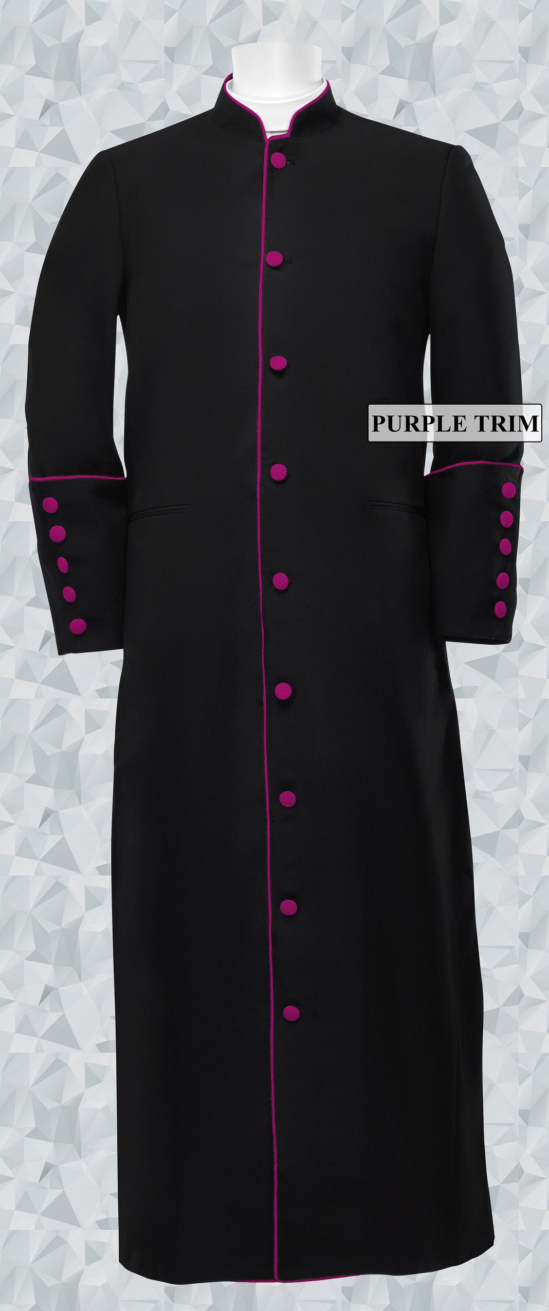 166 M. Men's Clergy/Pastor Robe Black/Medium Purple Trim