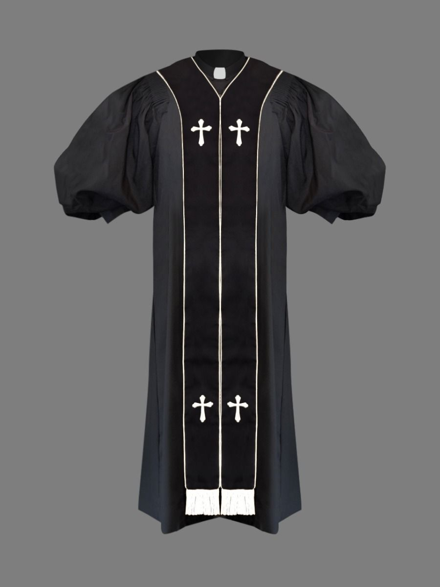 Clergy Pulpit Robe in Black with White Stole
