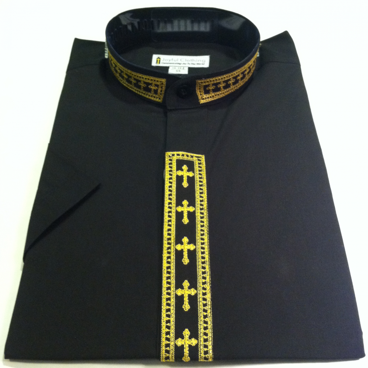 356. Men's Short-Sleeve Clergy Shirt With Fine Embroidery - Black/Gold