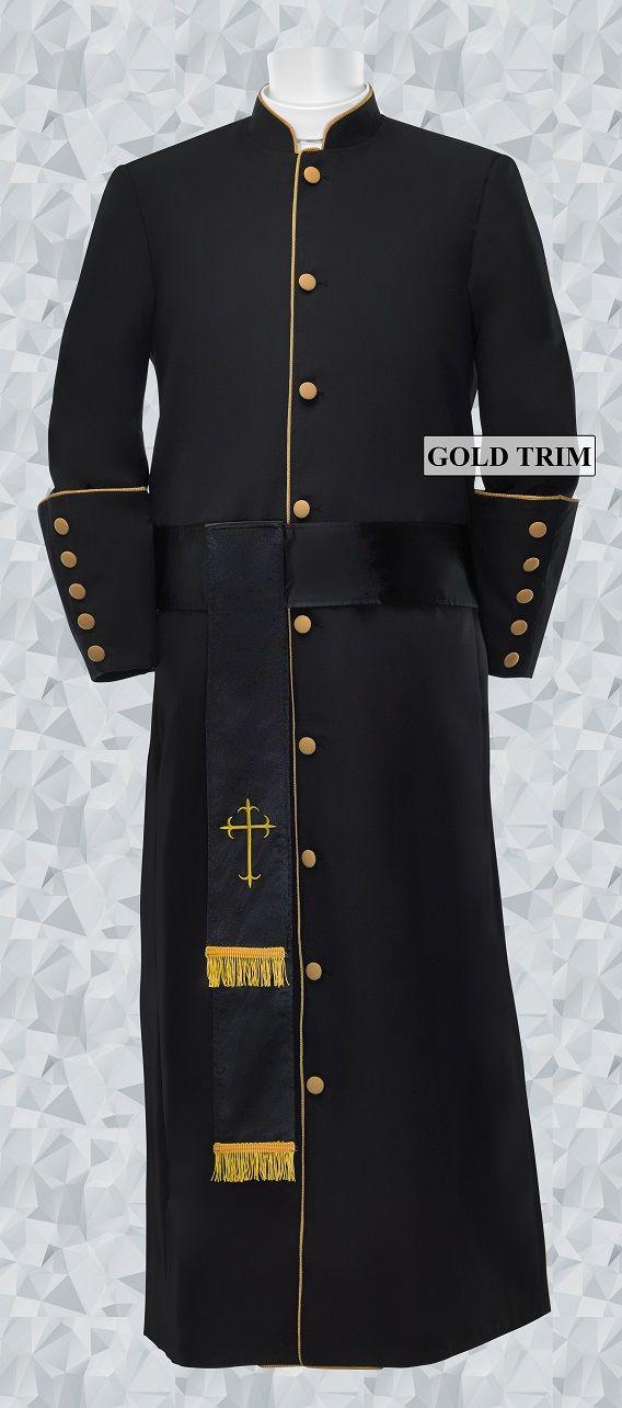 179 M. Men's Pastor/Clergy Robe - Black/Gold Matching Cincture Set