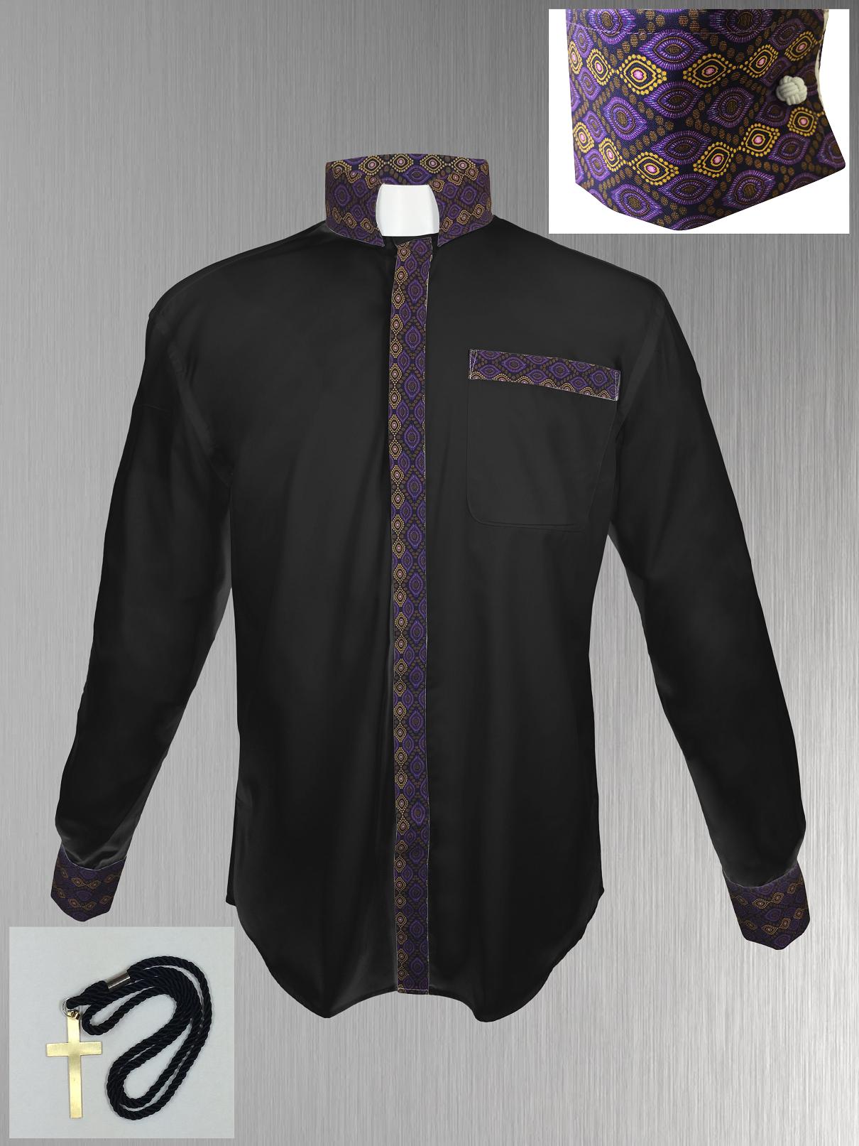 149. Custom Edition Gimba Cloth Men's Tab Collar Clergy Shirt Set - Black