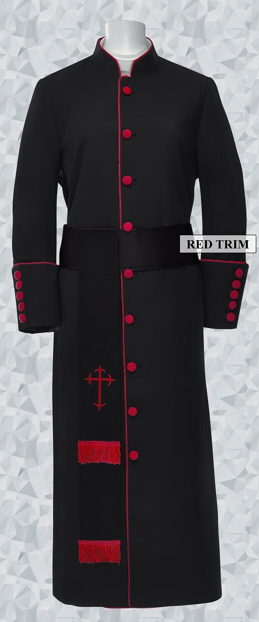 181 W. Women's Pastor/Clergy Robe - Black/Red Cincture Set