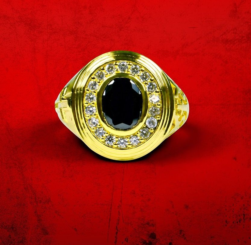 Mens Premium Clergy Ring with Black Stone - Gold w/ Black
