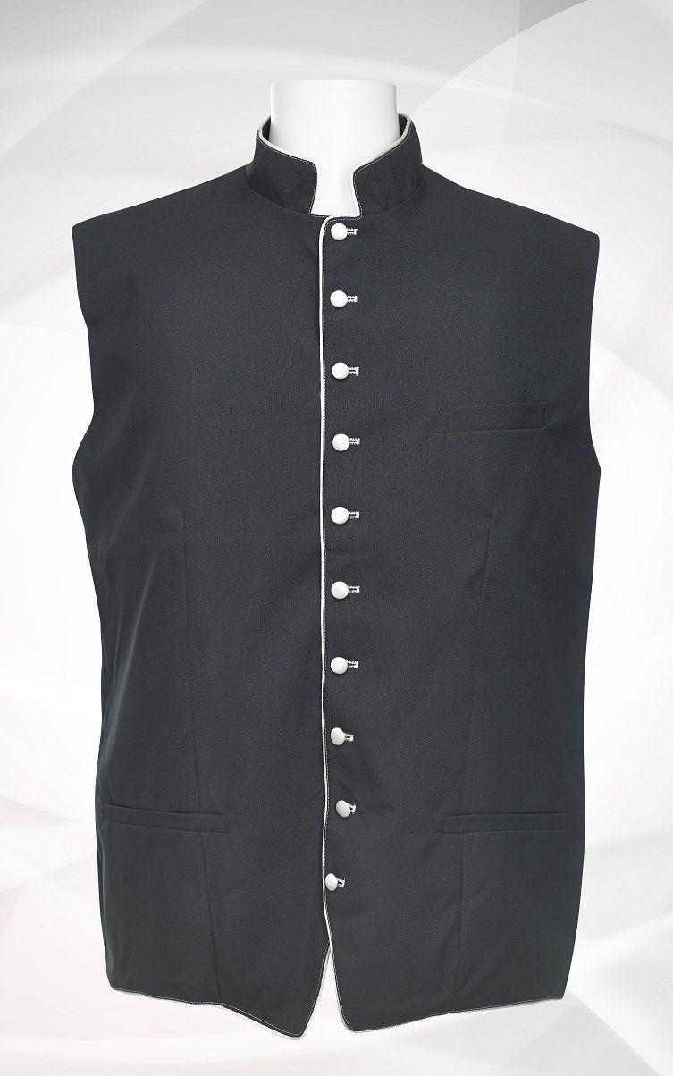 Men's Classic Clergy Vest - Black/White