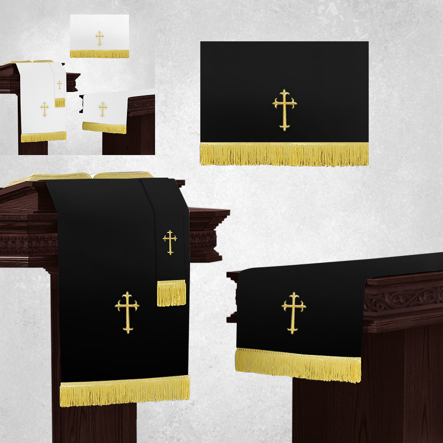 Reversible White and Black Church Parament Set