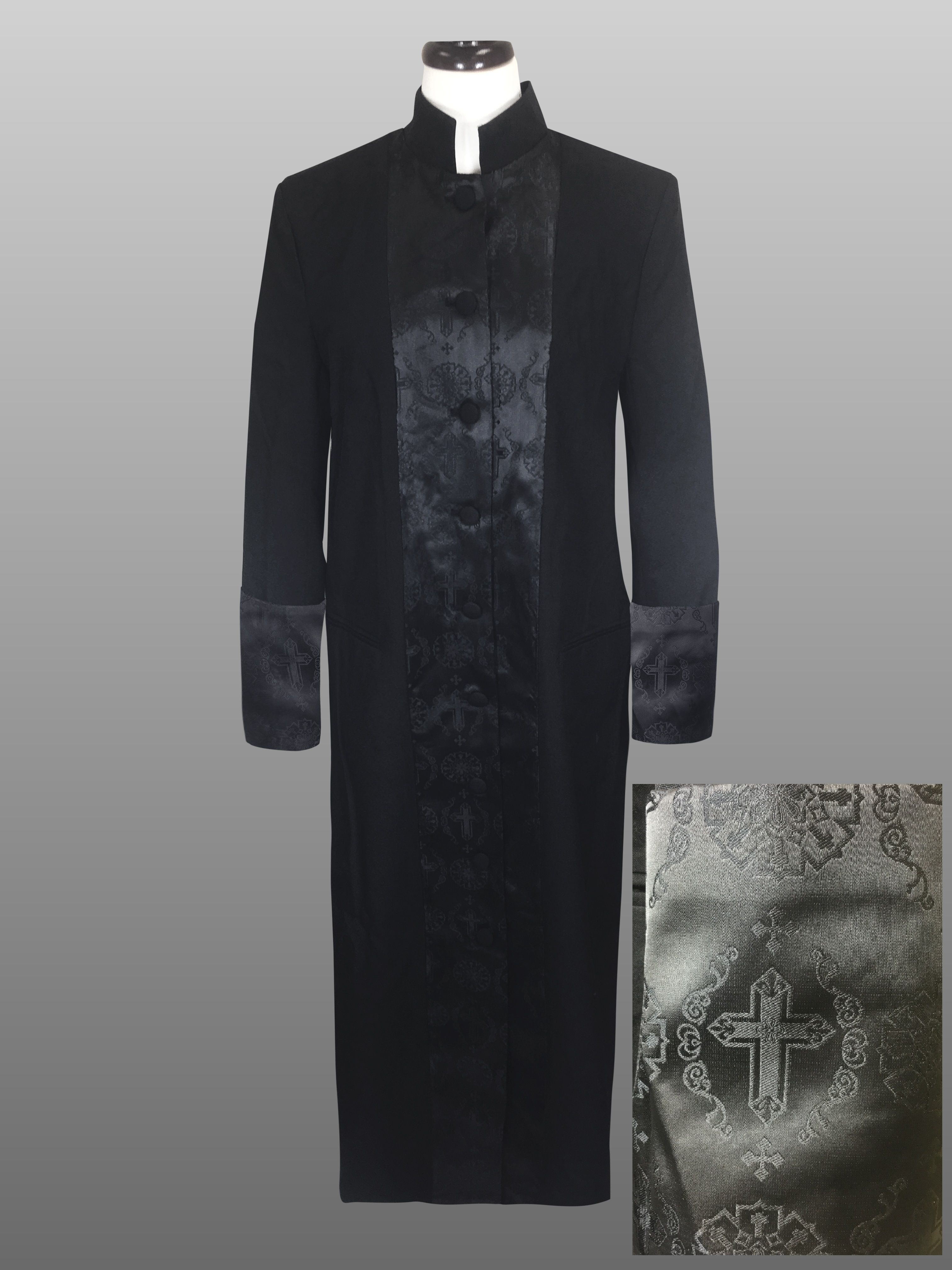 816 W. Women's Double Tone Brocade Pastor/Clergy Robe Black/Black